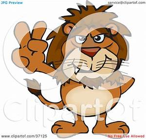 Clipart Illustration of a Peaceful Lion Smiling And ...