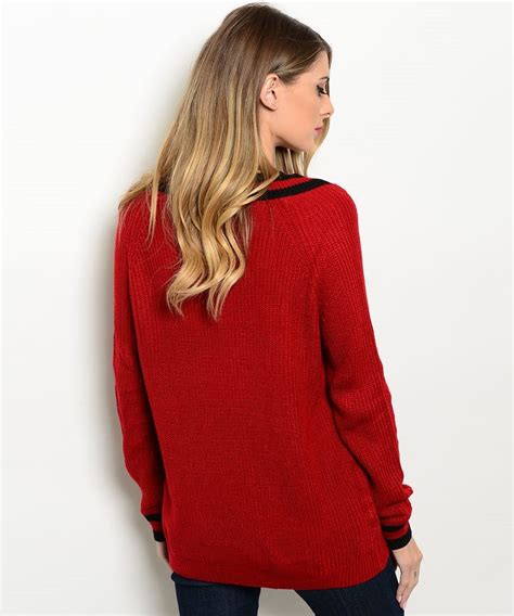 oversized sweater burgundy oversized v neck sweater modishonline com