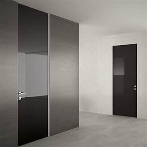 porta in vetro verniciato nero dinamika a battente in