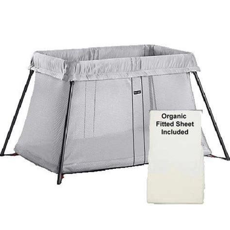 babybjorn travel crib light silver babybjorn travel crib light silver and fitted sheet