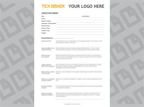 brief template microsoft word creative brief template and exles tick boxer