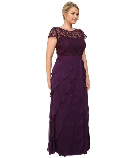 Papell Lace Bodice On Draped Skirt - papell plus size lace bodice dress w flutter