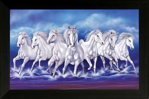 Saf Vastu Seven Running Horses Ink Painting Price In India