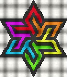 Rainbow stained glass star perler bead pattern | Lola ...