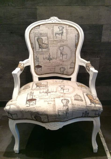 fauteuil bergere hotel perrin blanc patine tissu vintage