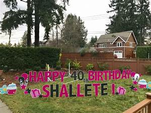 Happy birthday yard sign display with name age yard for Happy birthday yard letters