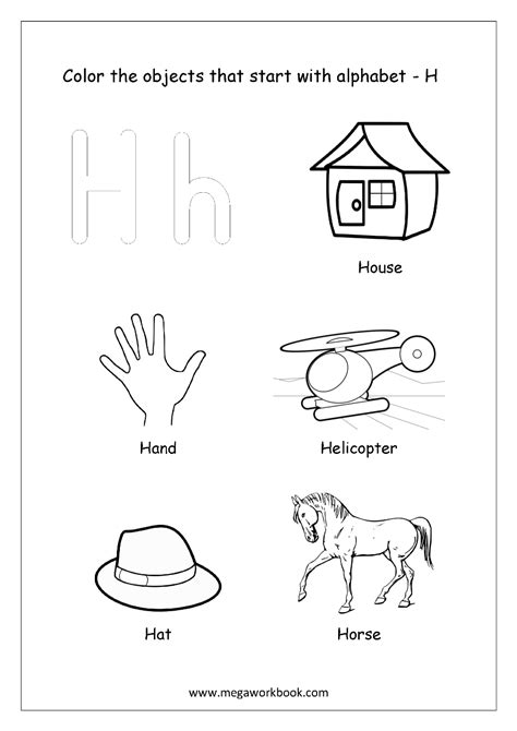 color that starts with h letter r page of things that begin with coloring pages