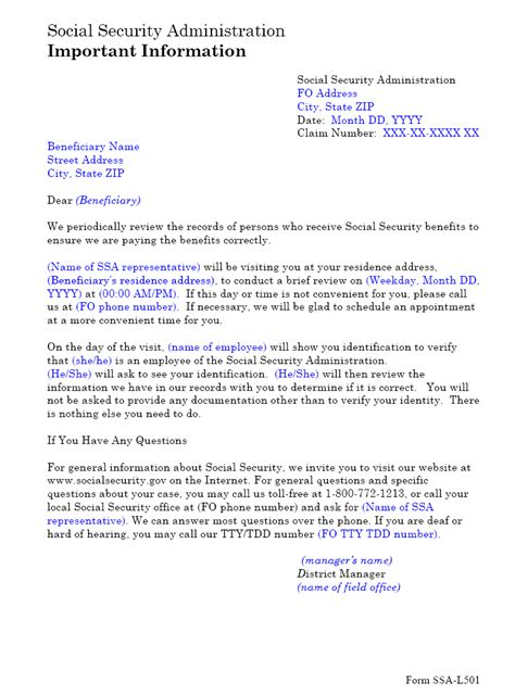 ssa poms nl  ssa  home visit letter