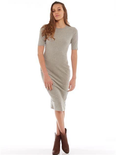 Glamorous Sammi Bodycon Long Sleeve Midi T Shirt Dress In Grey
