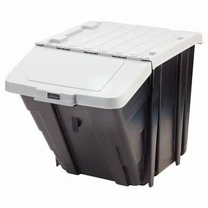 Bac Plastique Avec Couvercle : boite de rangement empilable avec couvercle 61l noir ~ Edinachiropracticcenter.com Idées de Décoration