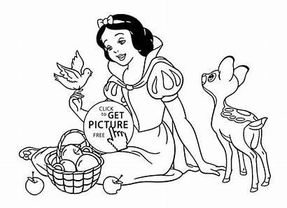 Coloring Disney Princess Pages Snow Animals Printables