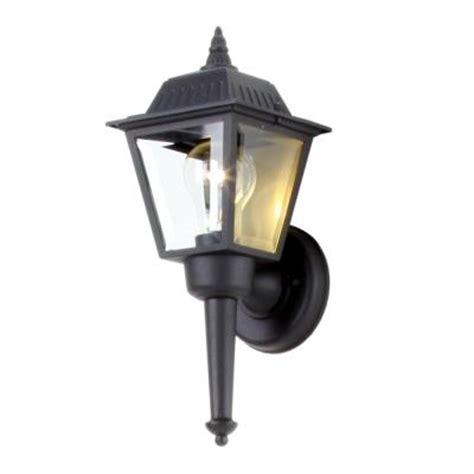 hton bay 1 light black outdoor wall lantern bpl1611 blk the home depot