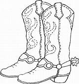 Cowboy Coloring Boots Sheet Boot Pages Printable Sheets sketch template