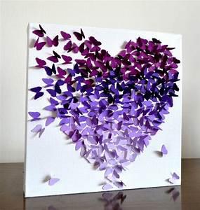 Wall art ideas design purple paper diy butterfly