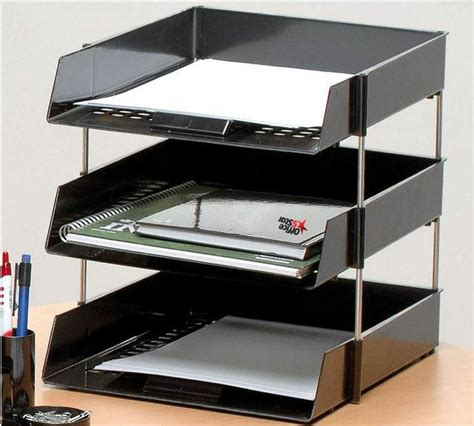 Office Desk Trays by 3 A4 Foolscap Letter Filing Desk Trays Black With 4 Risers