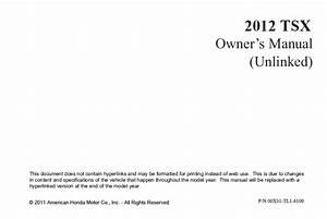 2012 Acura Tsx Owner U0026 39 S Manual