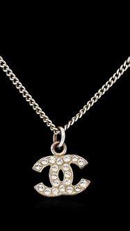 Authentic Chanel Rhinestone Logo Necklace