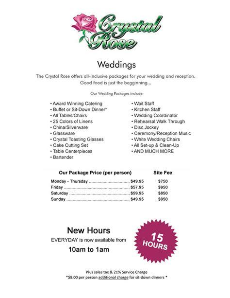colorado wedding reception packages wedding reception menus