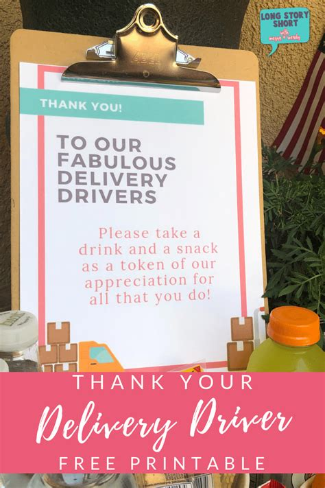 Free Delivery Driver Printable Sign - Long Story Short