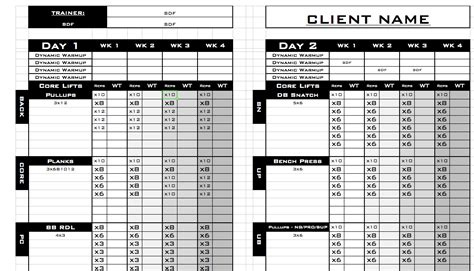 workout templates for personal trainers personal workout log template