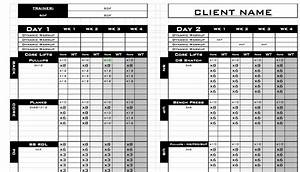 personal training workout log template With personal trainer workout template