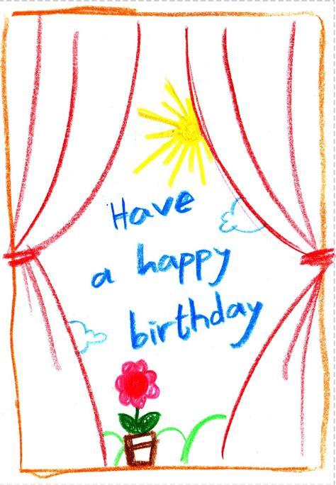 birthday card  printable child drawing greeting