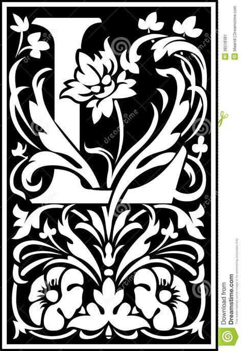 Flowers Decorative Letter L Balck And White Stock Image