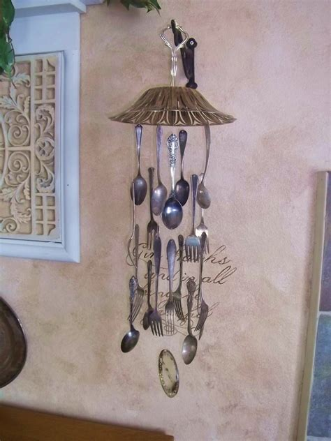 vintage silver plate silverware wind chime windchime