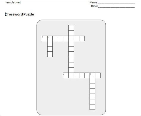 Name Puzzle Template by 15 Blank Crossword Template Crossword Template Free