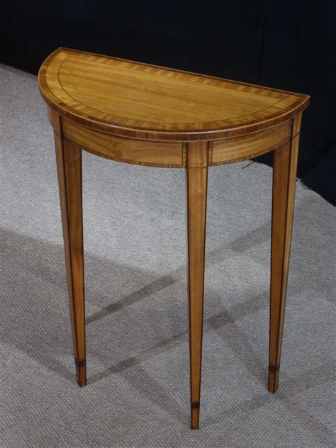 vintage console table small antique console table satinwood table demi lune 3176