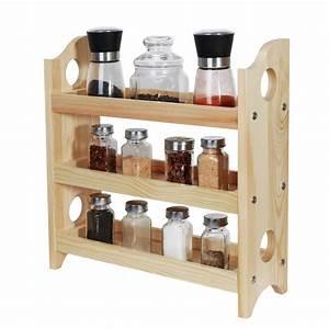 3-tier, Wood, Spice, Rack, Organizer, Countertop, -, Rustic, Wood, -, Walmart, Com