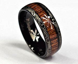 tungsten carbide s s black wedding engagement koa inlay ring ebay