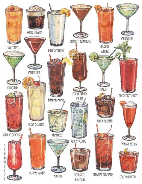 vintage cocktail cocktails retro art drinks vintage printable illustration