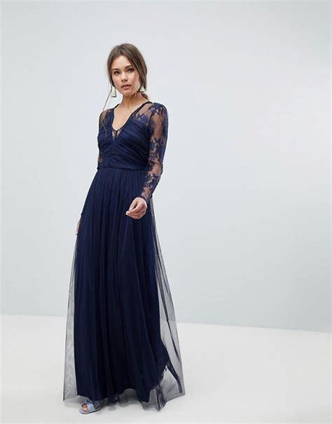 Asos Lace Maxi Dress With Long Sleeves Asos
