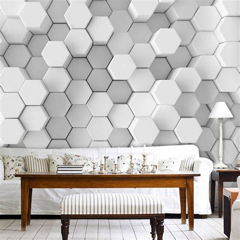 custom photo wall paper  stereoscopic geometric
