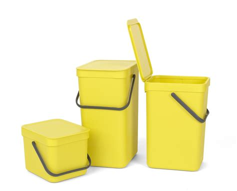 Brabantia Sort & Go Wall Mounted Yellow Kitchen Waste Bin