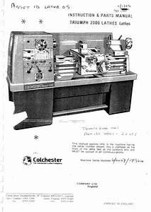 Colchester Triumph 2000 Operator Manual