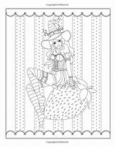 Coloring Pages Adult Witch Witches Halloween Volume Spellbinding Fantasy Burnette Fairy Books Grimm Tales Nikki sketch template