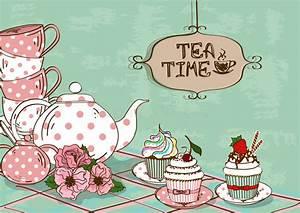 Illustration Mit Stillleben Des Teesatzes Und Der Kleinen Kuchen Lizenzfreie Stockfotos Bild