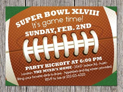Football Super Bowl Party Invitation! Merchandise Return Form Template Microsoft Excel Quotation Access Client Database Office 2010 Calendar Templates Mental Health Nursing Resumes 2018 Schedule Birthday Card