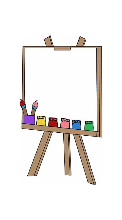 Easel Paint Blank Clip Canvas Graphics Brushes
