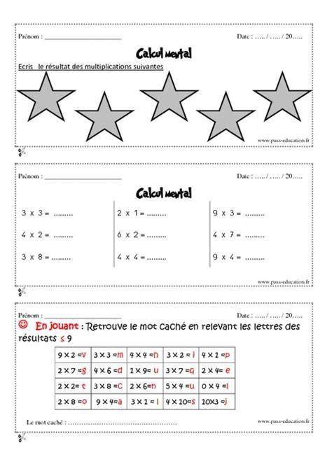 calcul mental tables de multiplication calcul mental cm1 exercices et bilan semaine 13 224 16 pass education