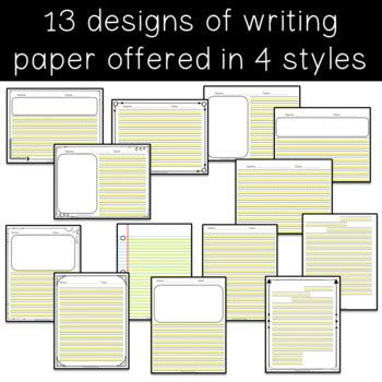 highlighted adaptive writing paper  differentiation