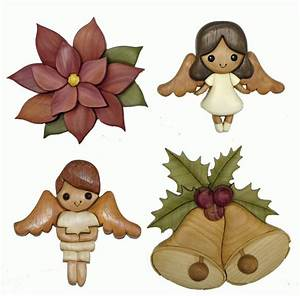 INTARSIA CHRISTMAS ANGELS, POINSETTIA AND BELLS * CLIP