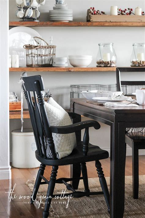 black dining room chairs makeover  wood grain cottage
