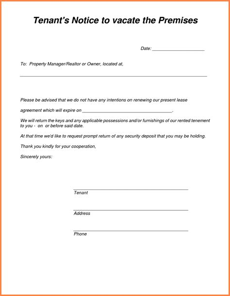 tenant notice  vacate sample notice letter