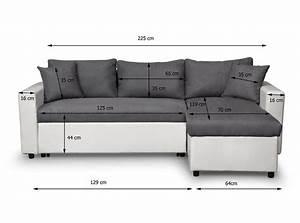 Canapé D Angle Convertible Confortable : canap d 39 angle maria r versible et convertible avec coffre gris blanc usinestreet ~ Melissatoandfro.com Idées de Décoration