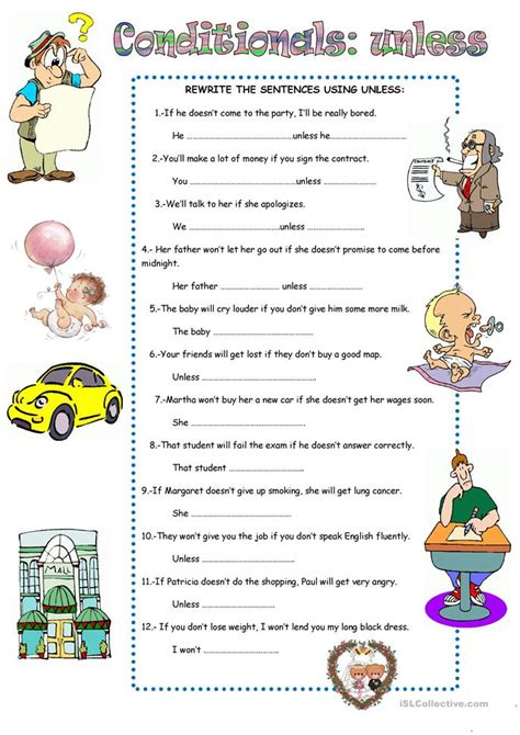 Conditionals Unless Worksheet  Free Esl Printable Worksheets Made By Teachers