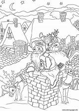 Coloring Santa Claus Pages Christmas Chimney Presents Down Printable Fireplace Entering Via Come Drawing Cool sketch template