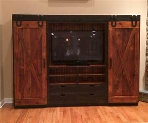 entertainment cabinet with barn doors rustic With barn door tv wall cabinet